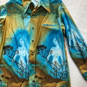 VTG Hawaiian Napili LS Naked Lady Aloha Shirt